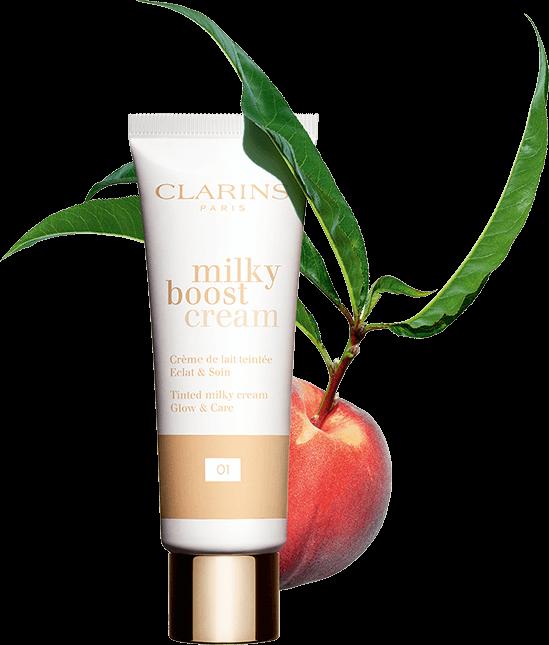 Milky Boost Cream with peach packshot